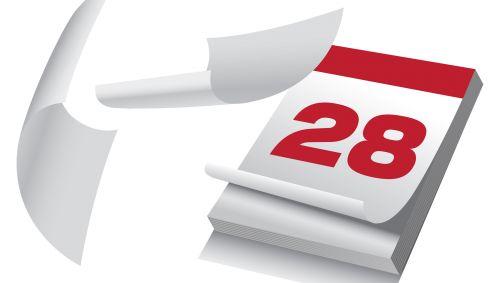 Illustration eines Abrisskalenders, der den 28. Tag des Monats anzeigt.