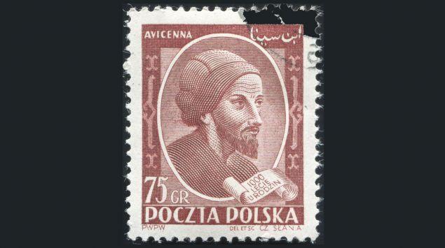 Man sieht eine Briefmarke mit Avicenna.