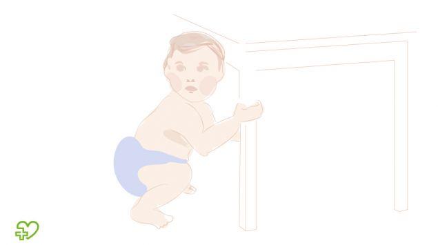 Grafik eines Babys, das sich am Tisch hochzieht.
