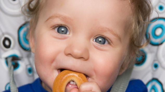 Ein Baby isst einen Keks.