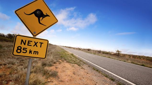 Man sieht eine australische Landstraße mit Känguru-Straßenschild.