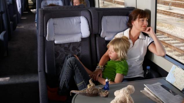 Das Bild zeigt eine Familie im Zug.