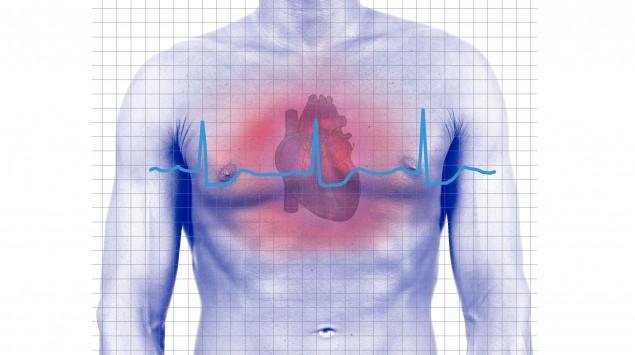 Schematische Darstellung eines EKGs mit dem Modell eines Herzens.