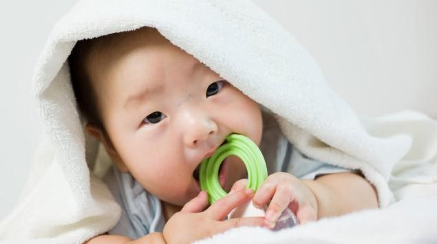 Ein Baby hat ein Spielzeug im Mund.
