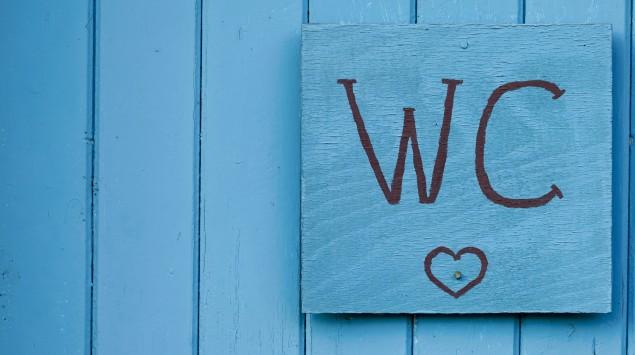 Ein blaues WC-Schild auf einer blauen Holztür.