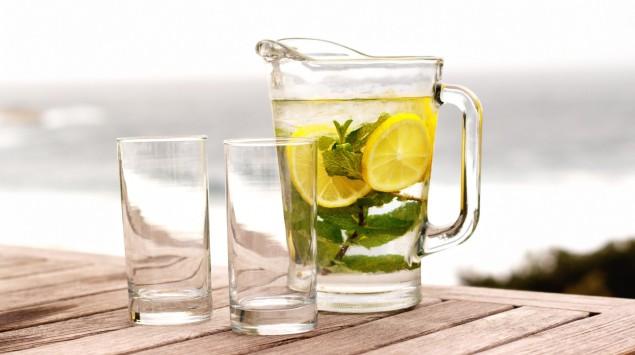 Das Bild zeigt eine Karaffe mit Mineralwasser, Zitronen und Minze.
