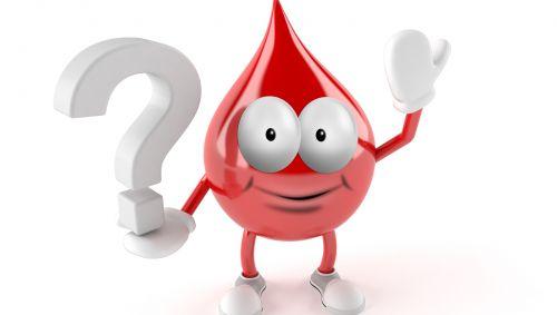 Illustration: Ein Tropfen Blut, der ein Fragezeichen in der Hand hält.
