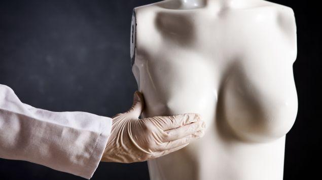 Jemand untersucht das Modell einer weiblichen Brust