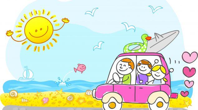 Ein Cartoon zeigt eine Familie im Auto, die zum Strand fahren.