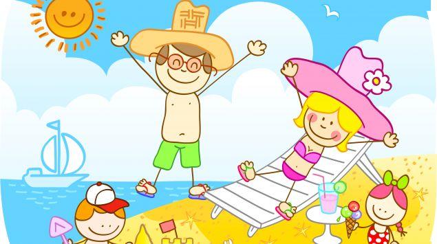 Ein Cartoon zeigt eine Familie am Strand.