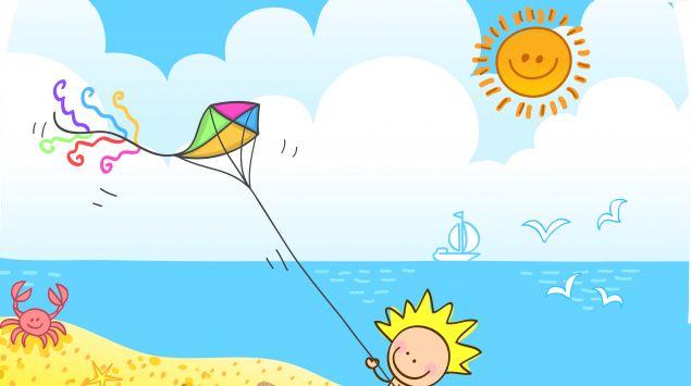 Ein Cartoon zeigt ein Kind, das seinen Drachen steigen lässt.