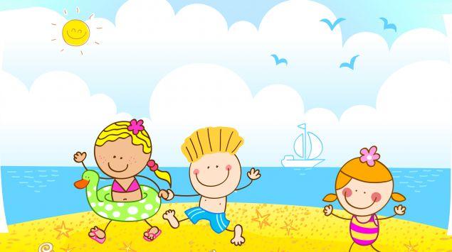 Ein Cartoon zeigt drei Kinder am Strand.