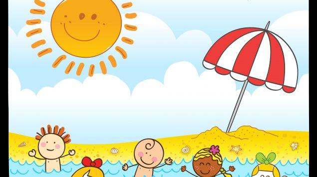 Ein Cartoon zeigt mehrere Kinder, die im Meer schwimmen.