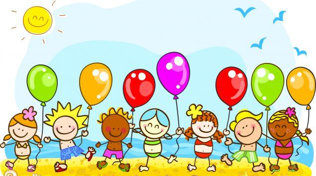 Ein Cartoon zeigt viele Kinder mit Luftballons am Strand.