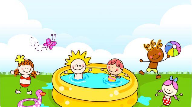 Ein Cartoon zeigt Kinder, die im Plantschbecken spielen.