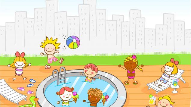 Ein Cartoon zeigt Kinder, die an einem Pool spielen.