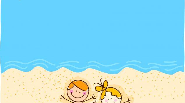 Ein Cartoon zeigt zwei Kinder, die am Strand liegen.