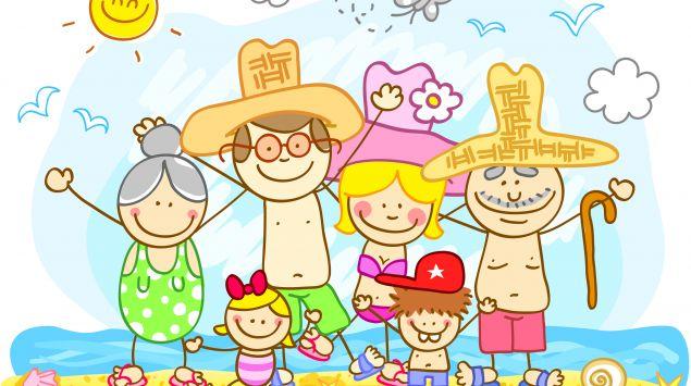 Ein Cartoon zeigt eine ganze Familie am Strand.