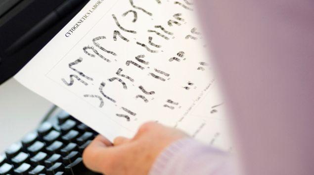 Ein Arzt betrachtet eine Chromosomenanalyse.
