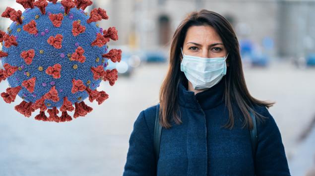 Ein Frau mit Mundschutz und eine Darstellung des Coronavirus.