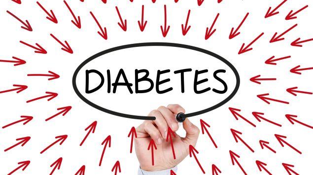 Man sieht den Schriftzug Diabetes, umgeben von roten Pfeilen, die darauf zeigen.