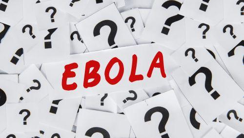 Man sieht den Schriftzug Ebola und einige Fragezeichen.