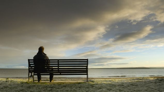 Die Rückansicht eines Mannes, der auf einer Bank am Meer sitzt.