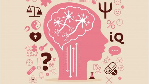 Illustration: ein Gehirn, umgeben von verschiedenen Symbolen zum Thema Psyche