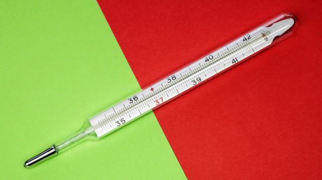 Ein Fieberthermometer aus Glas vor einem grün-roten Hintergrund.