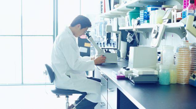 Ein Wissenschaftler blickt durch ein Mikroskop.