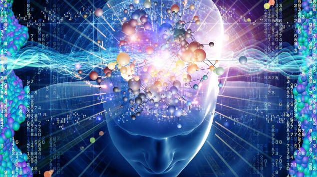 Illustration: Ein menschlicher Kopf von oben, durch den verschiedene Linien und Kugeln verlaufen.