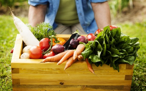 Das Bild zeigt verschiedene Gemüsesorten in einer Holzbox.
