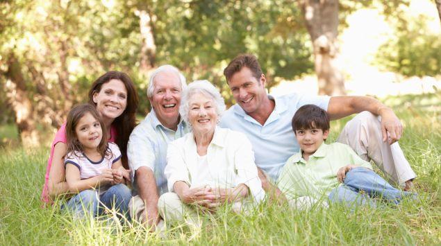 Großeltern, Eltern und Kinder sitzen auf einer Wiese.