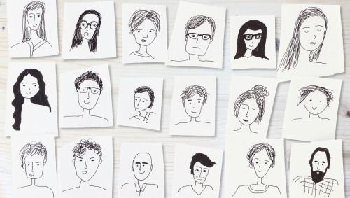 In schwarz-weiß gezeichnete Gesichter im Comic-Stil