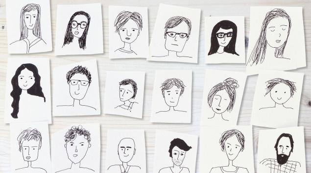 In schwarz-weiß gezeichnete Gesichter: Eine psychische Erkrankung kann jeden treffen
