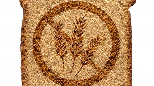 Toastbrot, auf das das Glutenfrei-Symbol gedruckt ist