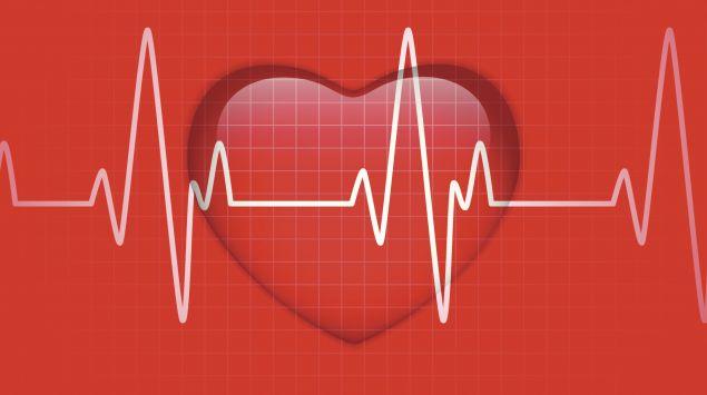 Man sieht ein Herz hinter einer EKG-Kurve.