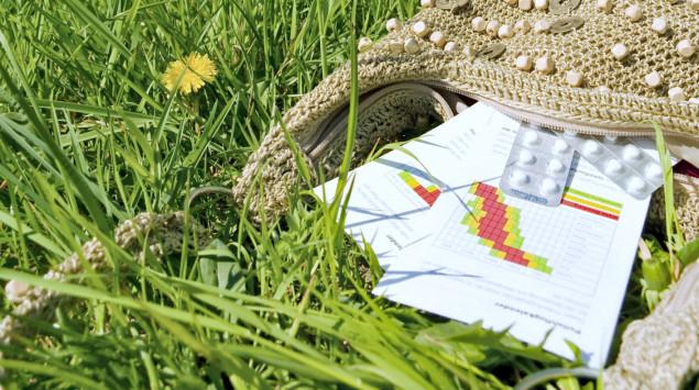 Eine Frau sitzt auf der Wiese und putzt sich die Nase, im Vordergrund liegt eine Handtasche mit Pollenkalender und Tabletten.