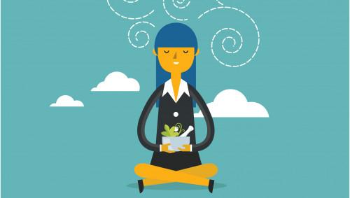 Illustration: Eine Frau im Lotussitz hält einen Mörser mit Kräutern in der Hand