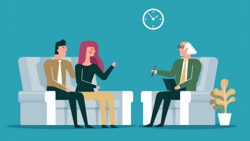Illustration: Ein Paar bei einem älteren Psychotherapeuten.