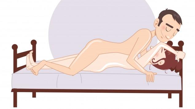 Man sieht eine Stellung aus dem Kamasutra.