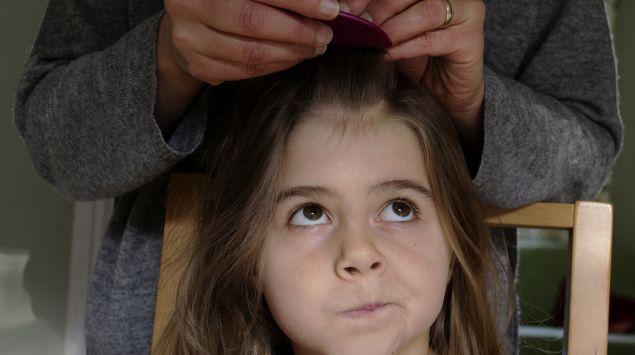 Ein Kind wird auf Läuse untersucht.