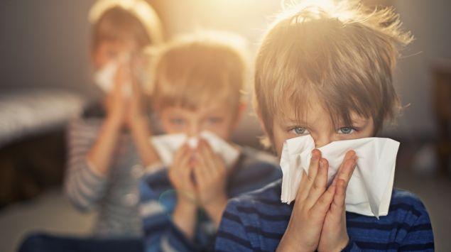 Das Bild zeigt drei Kinder, die sich ihre Nasen putzen.