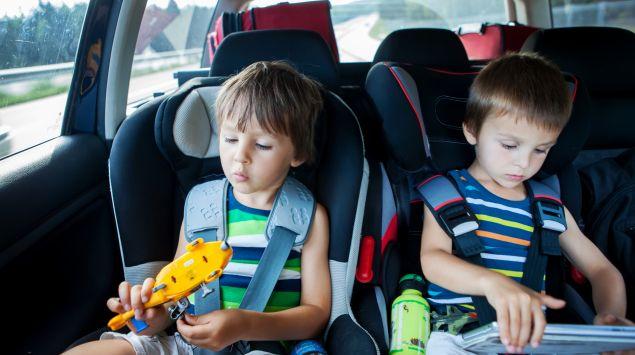 Zwei Jungen im Kindersitz im Auto.
