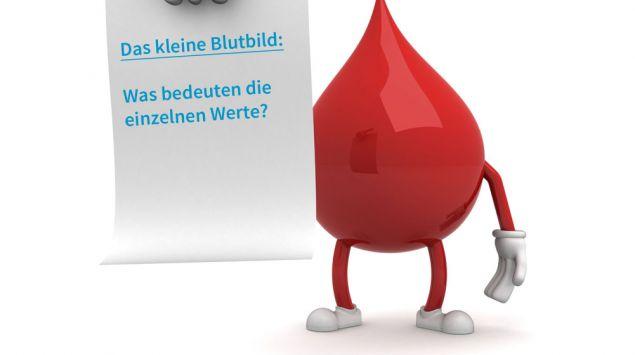 Illustration: ein Blutstropfen mit einem Zettel in der Hand.