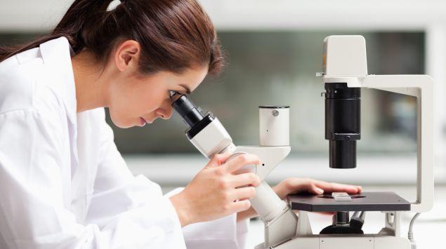 Das Bild zeigt eine Forscherin, die durch ein Mikroskop schaut.