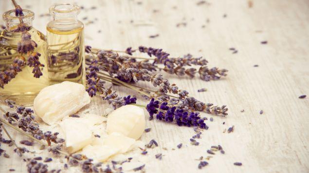 Man sieht Fläschen mit Öl und frischen Lavendel.