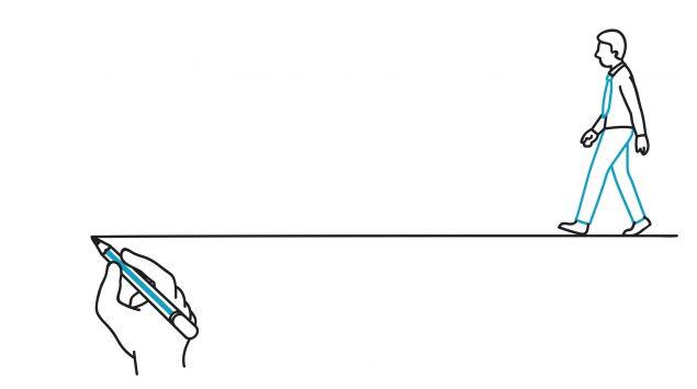 Illustration eines gezeichneten Strichs, der als Leitlinie dient