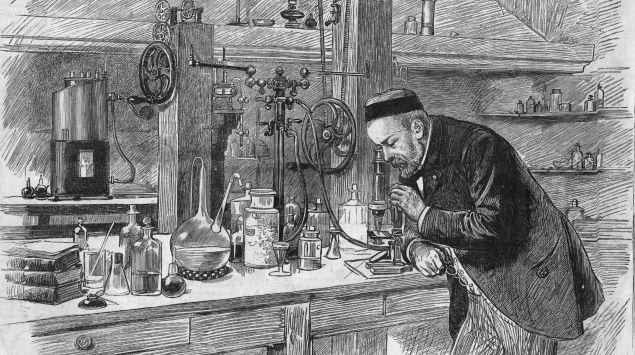 Man sieht eine Zeichnung von Louis Pasteur im Labor.