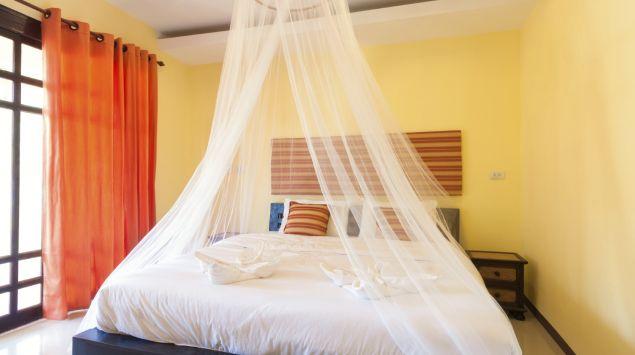 Man sieht ein Bett mit einem Moskitonetz.